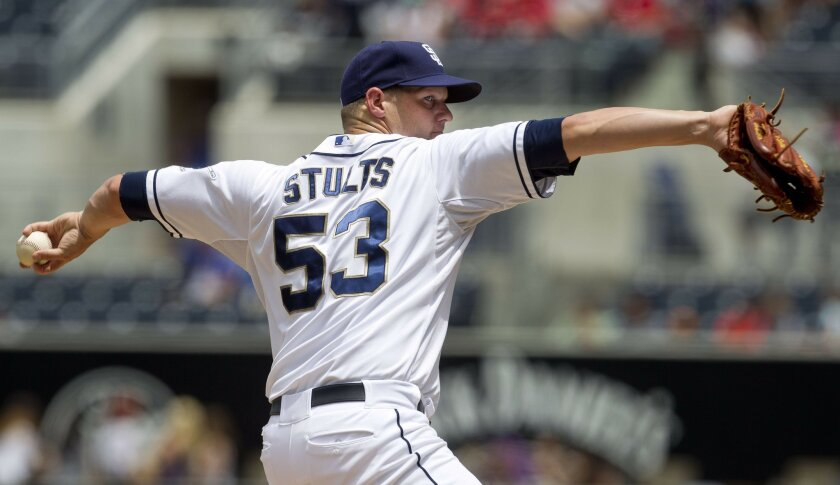 San Diego starting pitcher Eric Stults on the mound in the first inning.