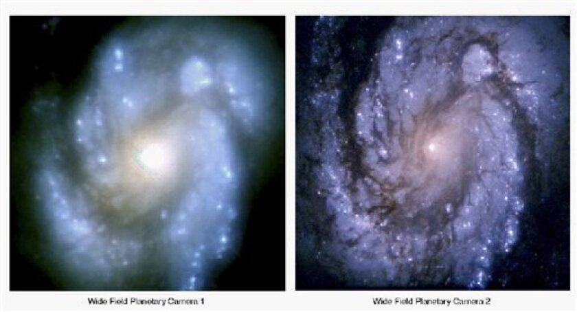 FILE - These 1994 file images provided by NASA, show how the same galaxy core, M100, was viewed, left, by the Hubble telescope before it was repaired in 1993. At right, viewed with the Wide Field Planetary Camera-2, which is being replaced in the May 2009 Atlantis mission, the same galaxy core appears much sharper after the initial fix. (AP Photo/NASA, File)