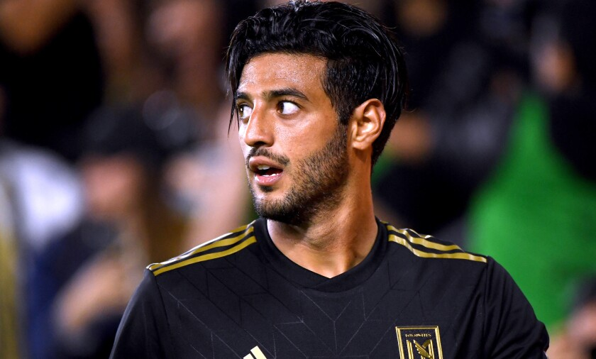 Carlos Vela, shown last year, netted the first goal of 2020 for LAFC on Jan. 25, 2020, curling in a tidy left-footed shot from the top of the box in the 10th minute.