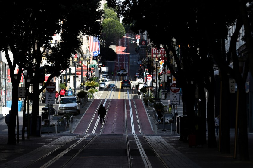Powell Street in San Francisco is nearly empty on Tuesday.