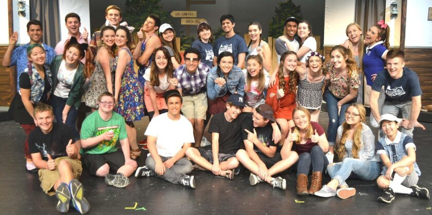 """The cast of Rancho Bernardo High's spring musical, """"Camp Rolling Hills."""" It will be performed March 3 to 5 on campus."""