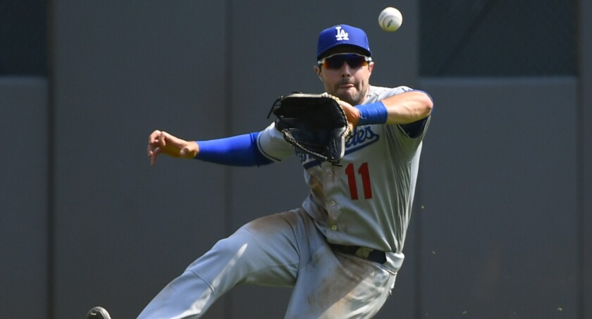 Dodgers center fielder A.J. Pollock catches a line drive of the bat of Atlanta's Matt Joyce on Aug. 18.
