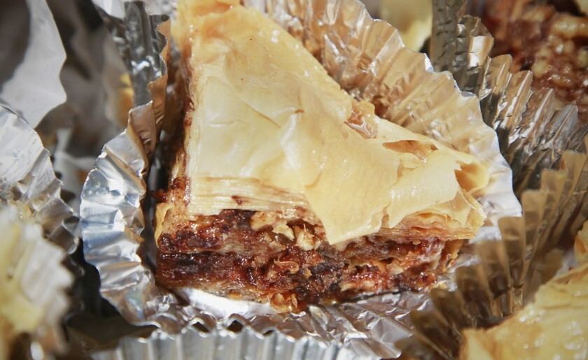 "The Mediterranean's Chocolate Bacon Baklava on display at the press preview for this year's ""Wizard of Oz"" themed San Diego County Fair on May 14 in Del Mar."