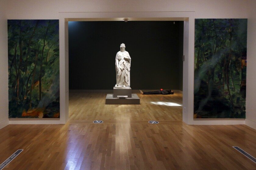 """Paintings and sculpture from the biennial """"Made in L.A. 2020: a version"""" sit at the Huntington Library in San Marino."""