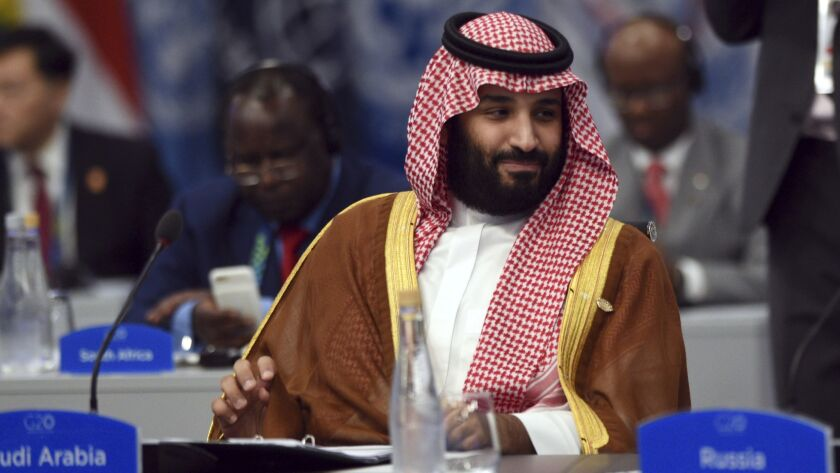 Saudi Arabia's Crown Prince Mohammed bin Salman attends a session on the second day of the G-20 summit in Buenos Aires on Saturday.