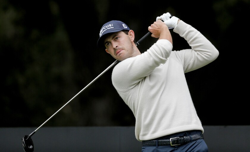 Patrick Cantlay hits from the second tee Sunday before going on to win the Zozo Championship.