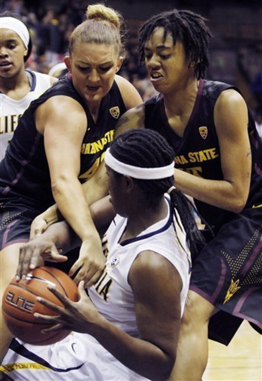 California's Talia Caldwell, front, struggles for the ball Arizona State's Haley Videckis, left, and Nisha Barrett during the first half of an NCAA college basketball game in Berkeley, Calif., Friday, Feb. 8, 2013. (AP Photo/George Nikitin)