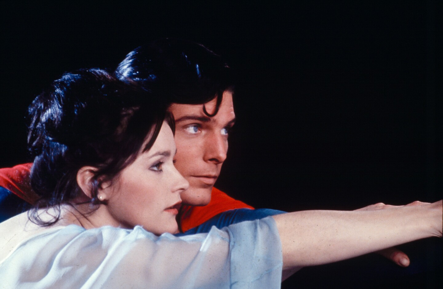 """Margot Kidder as Lois Lane, with Christopher Reeve as Superman in 1978's """"Superman."""" She reprised the role in several sequels."""