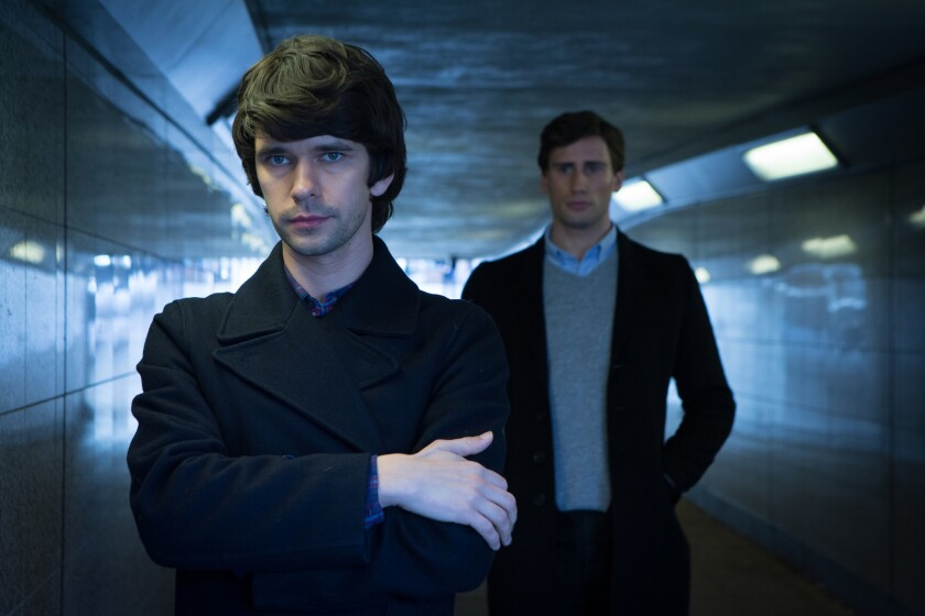 "Ben Whishaw, left, and Edward Holcroft in ""Londond Spy."""