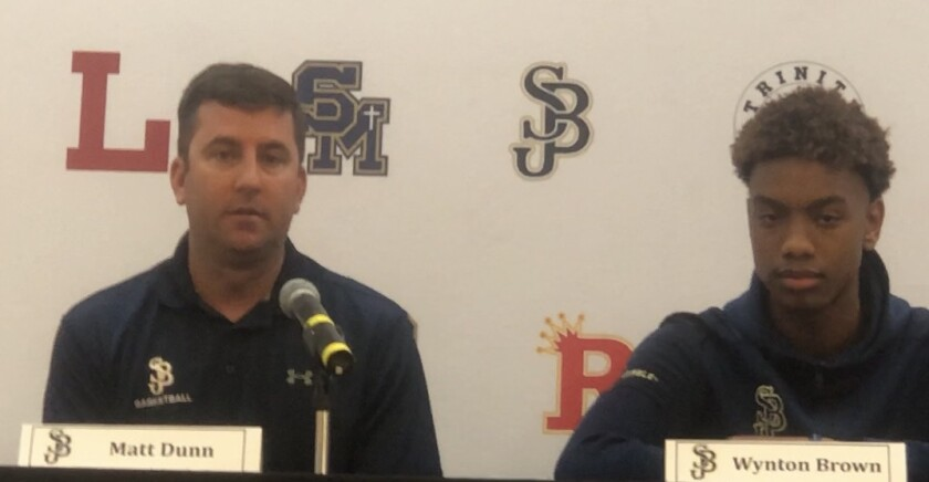 St. John Bosco coach Matt Dunn (left) has the Braves on a roll, advancing to the Classic at Damien semifinals.