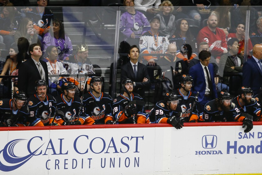 Gulls head coach Dallas Eakins looks to the scoreboard in the first period against Ontario.