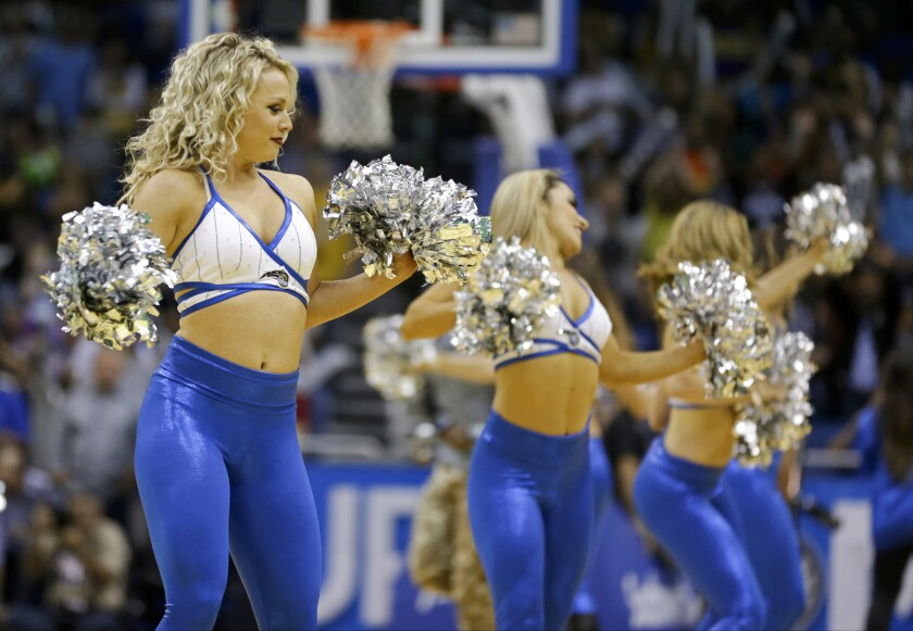 Orlando Magic dancers perform during the second half of an NBA basketball game between the Orlando Magic and the Los Angeles Lakers, Wednesday, Nov. 11, 2015, in Orlando, Fla. Orlando won 101-99. (AP Photo/John Raoux)