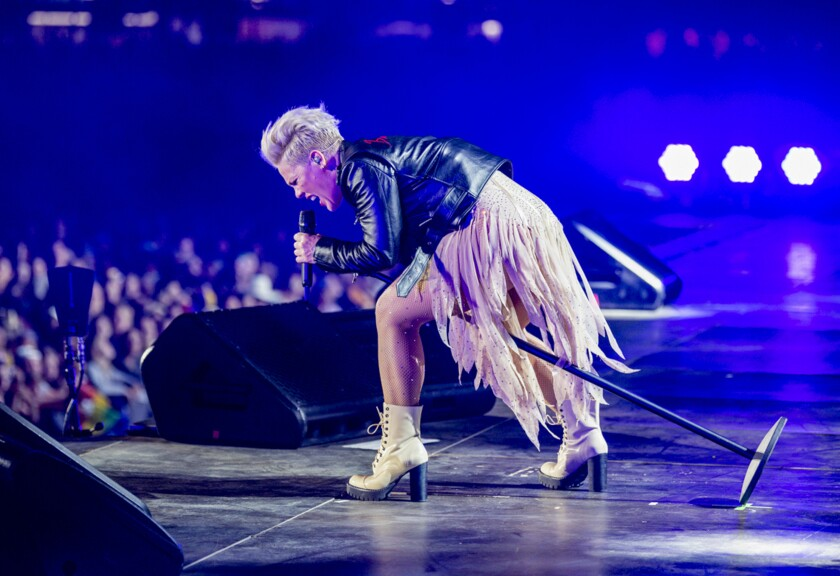"""This image released by Amazon shows dinger Pink performing in a scene from her documentary, """"Pink: All I Know So Far,"""" debuting May 21 on Prime Video. (Andrew Macpherson/Amazon Content Services LLC via AP)"""