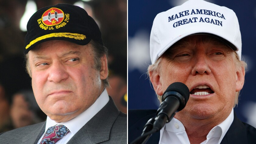 A diptych showing Pakistan's Prime Minister Nawaz Sharif, left, watching a military exercise near Bahawalpur, Pakistan, on Nov. 16, 2016; and then-candidate Donald Trump during a campaign rally in Miami on Nov. 2, 2016.