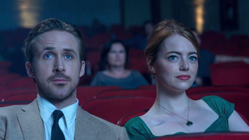 """Ryan Gosling, left, and Emma Stone in Lionsgate's """"La La Land."""""""