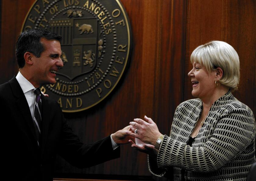 Mayor Eric Garcetti with Marcie Edwards, general manager of the Los Angeles Department of Water and Power, in 2014.