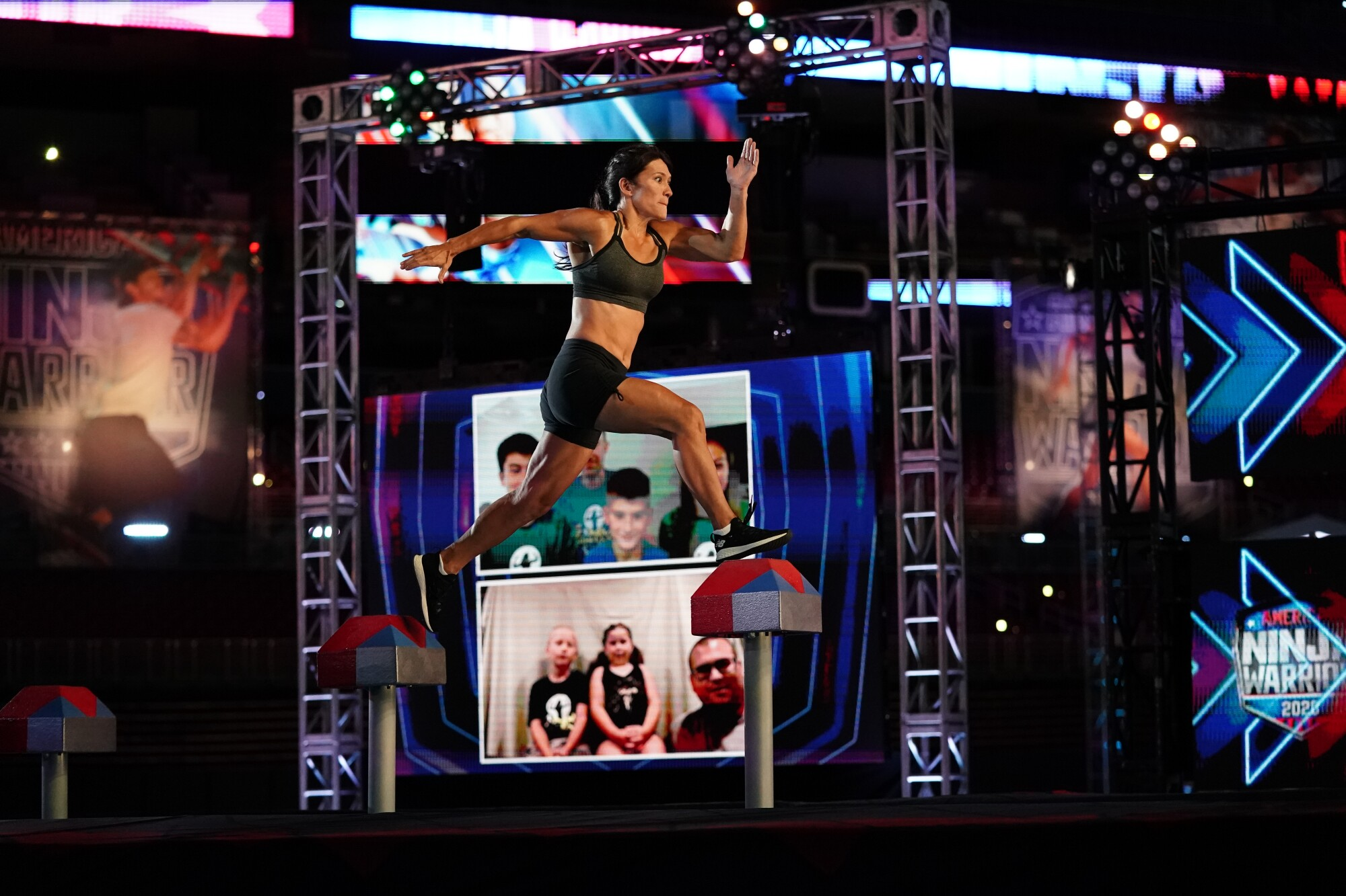 """Sandy Zimmerman competes in the new season of """"American Ninja Warrior,"""" filmed amid the COVID-19 pandemic."""
