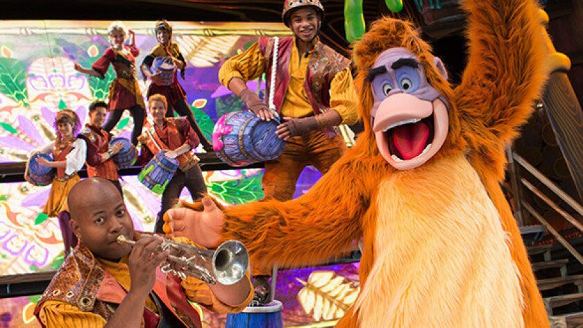"""King Louie from the """"Jungle Book"""" in """"Mickey and the Magical Map"""" at Disneyland's Fantasyland Theatre."""