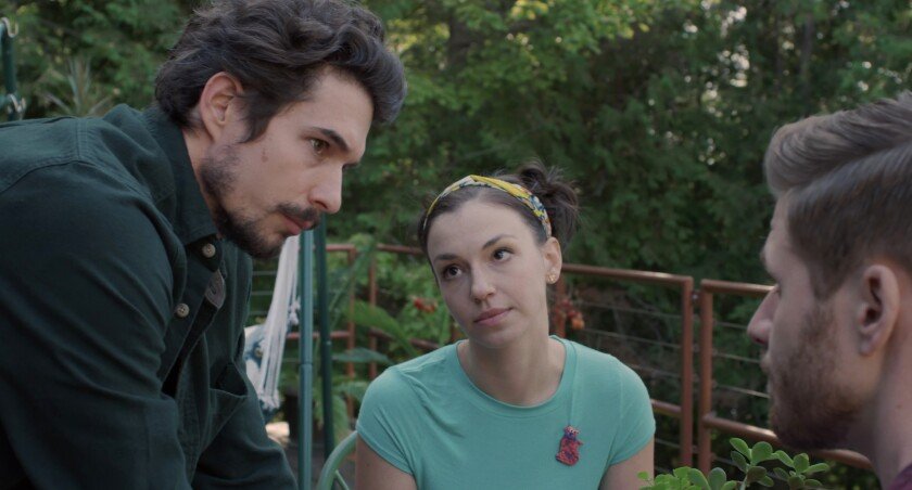"""Michael Blaustein, from left, Zoe Kanters and Daniel Weingarten in the movie """"Up There."""""""
