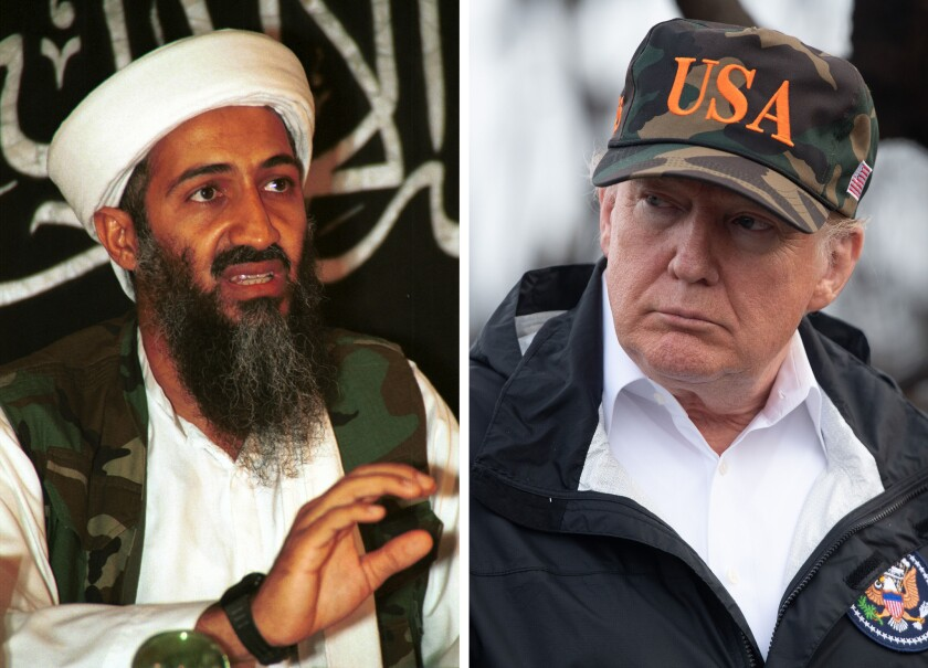 President Trump (right) is bragging again that he pointed out Osama bin Laden in his 2000 book, a year before the 9/11 attacks.