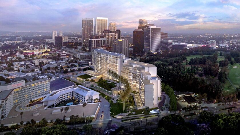 Architect Richard Meier's design for a $1-billion condo and retail complex in Beverly Hills, near the Beverly Hilton Hotel. Plans call for reducing the number of condominiums in the project and adding a luxury hotel.