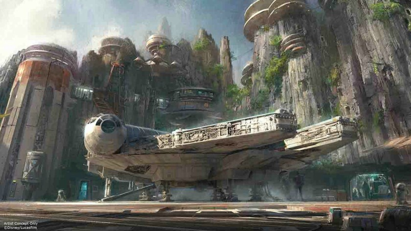 Concept art of the new Star Wars Land coming to Disneyland and Disney Hollywood Studios.