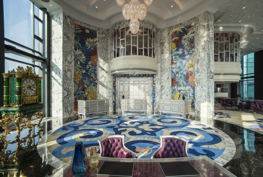 The Reverie Saigon is in a 39-story tower in Ho Chi Minh City. The Sky Lobby on the seventh floor introduces visitors to the intricate and elaborate designs of the new hotel.