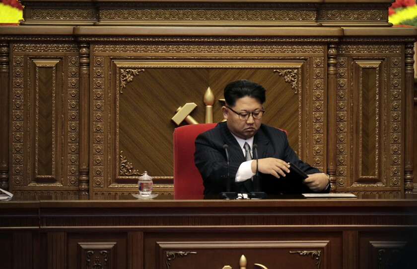 North Korean leader Kim Jong Un arrives for the party congress at the April 25 House of Culture in Pyongyang, North Korea, on Monday.