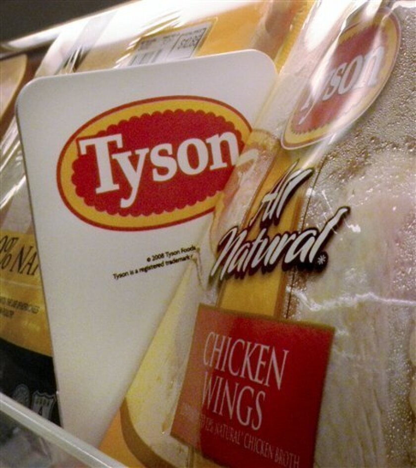 In this 2009 photo, Tyson Foods chicken products are displayed on shelves in a Little Rock, Ark. grocery store.