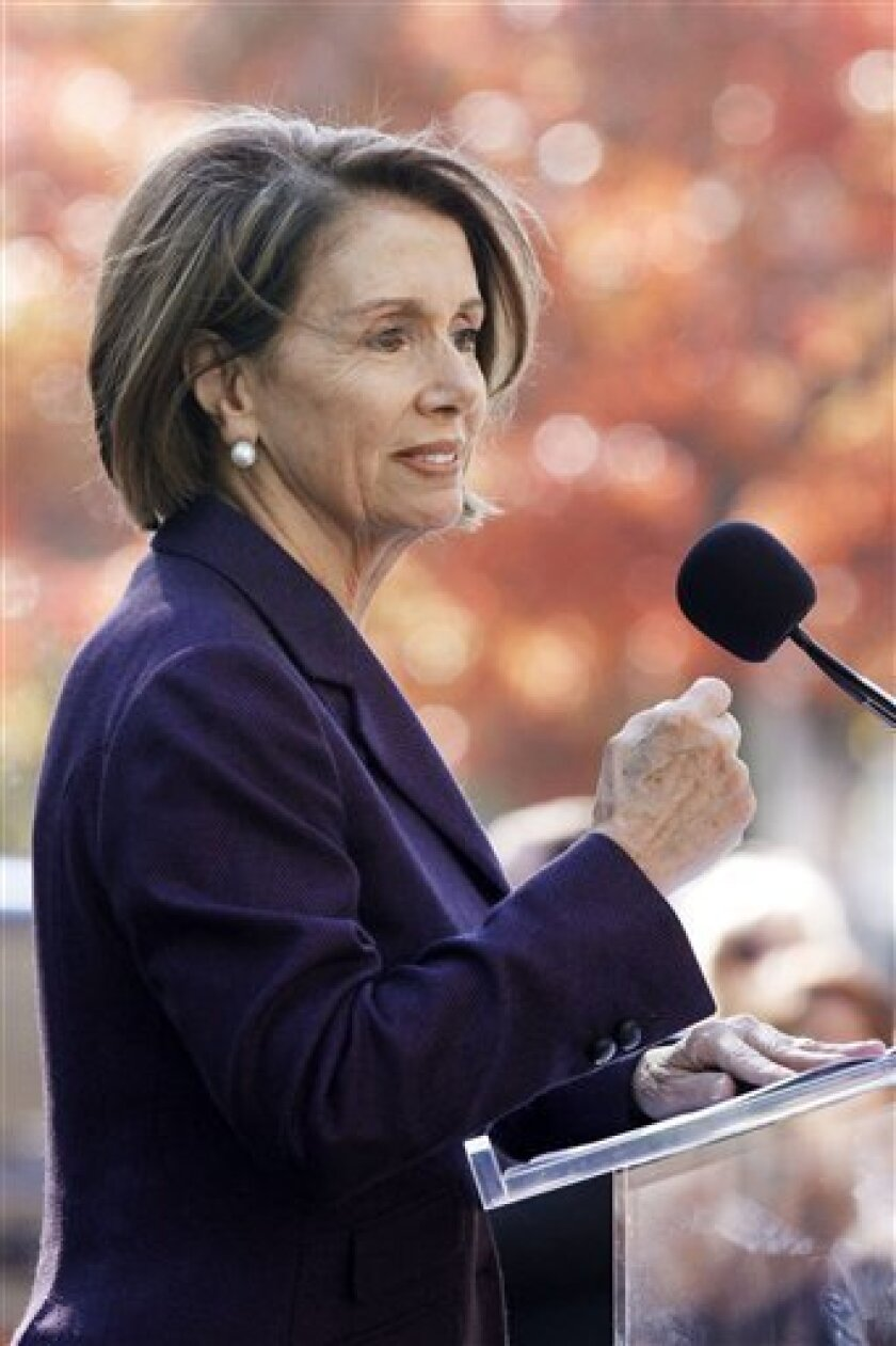 House Speaker Nancy Pelosi of Calif. speaks duing the groundbreaking ceremony for the American Veterans Disabled for Life Memorial, Wednesday, Nov. 10, 2010, in Washington. (AP Photo/Jacquelyn Martin)