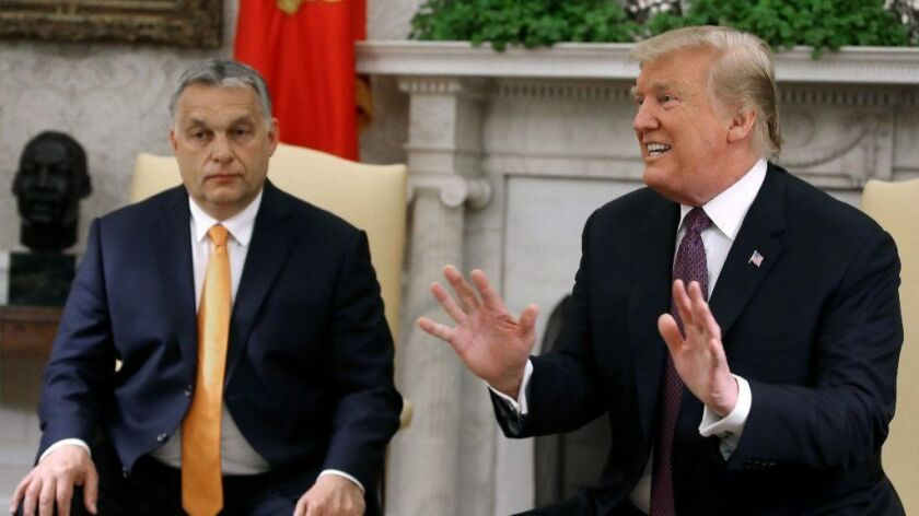 President Trump speaks to the media during a meeting with Hungarian Prime Minister Viktor Orban at the White House on Monday.