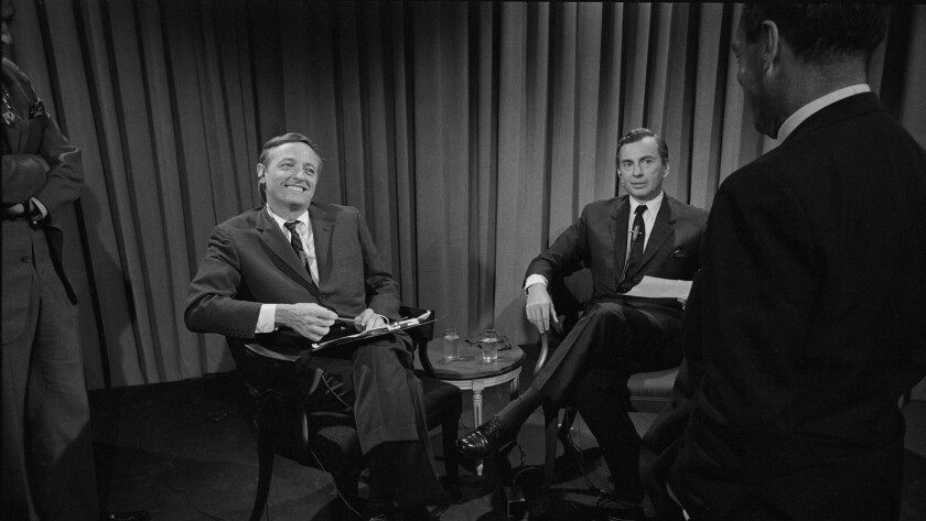 """William F. Buckley Jr., left, and Gore Vidal in a scene from """"Best of Enemies."""""""