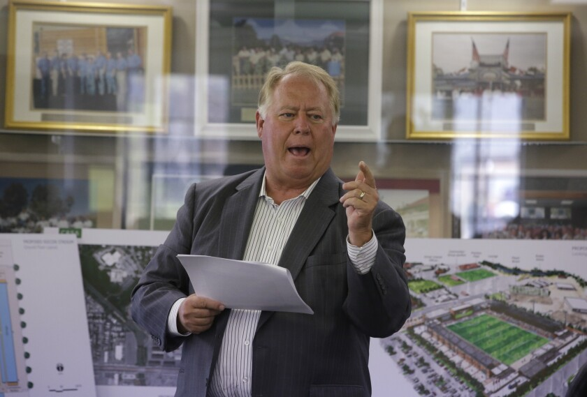 Real Salt Lake owner Dell Loy Hansen presents his vision in 2014 for a new minor league soccer stadium in Salt Lake City.