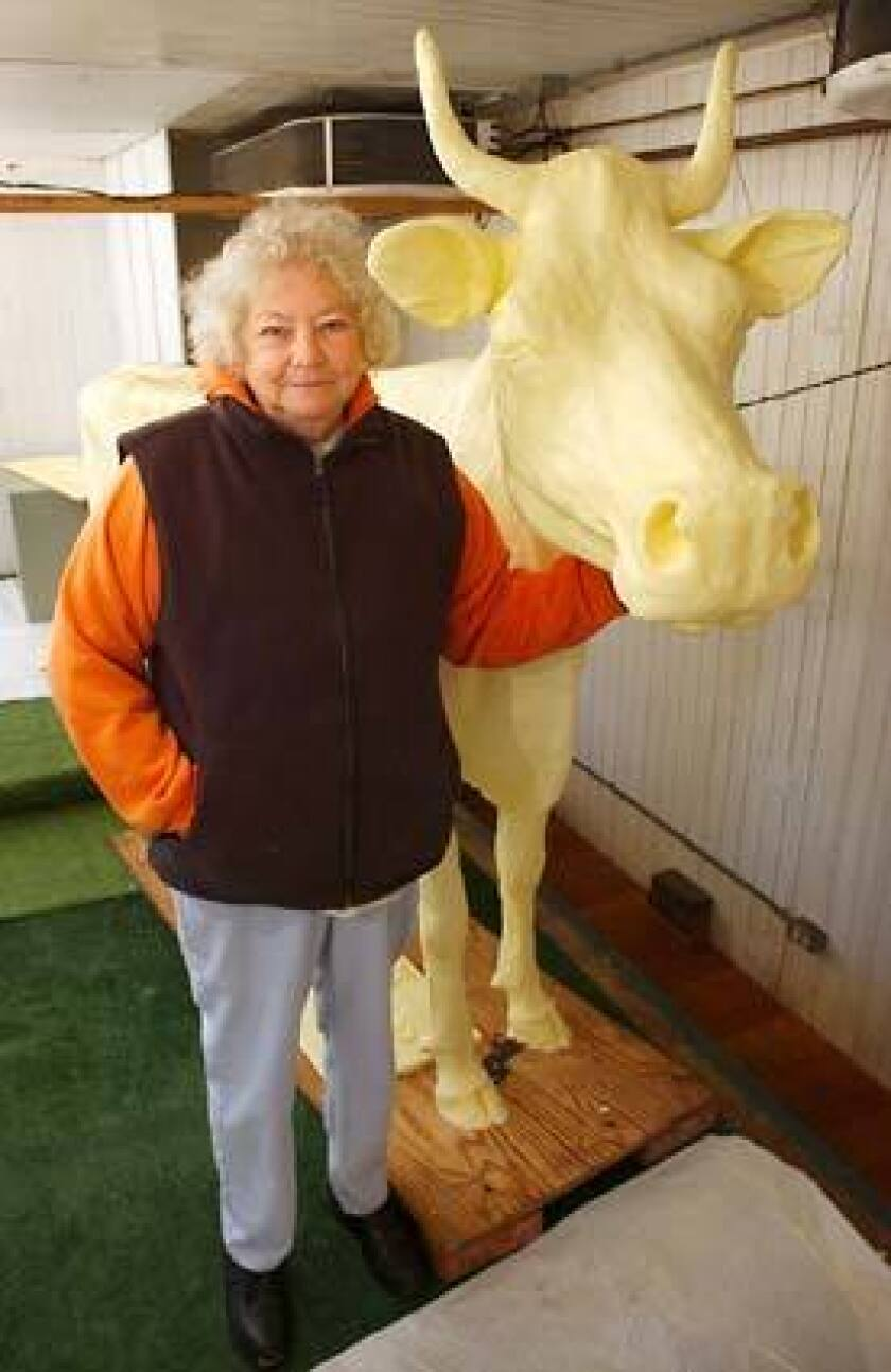 """Norma """"Duffy"""" Lyon was best known for carving life-size dairy cows out of butter."""