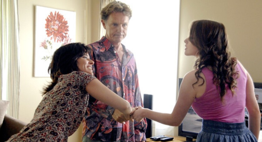 """Parker Posey, Bruce Greenwood, and Allie MacDonald in """"And Now a Word from Our Sponsor."""""""
