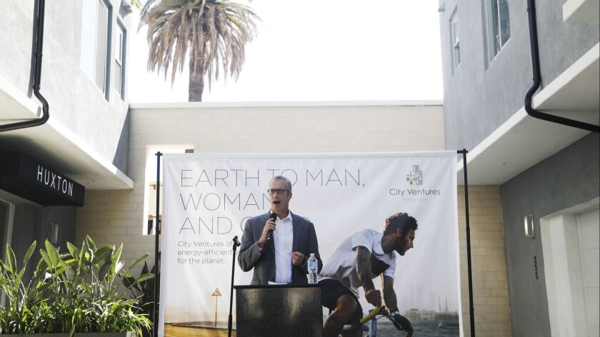 LONG BEACH, CA. - September 18, 2018: City Ventures Homebuilding CEO Philip Kerr speaks during a gra