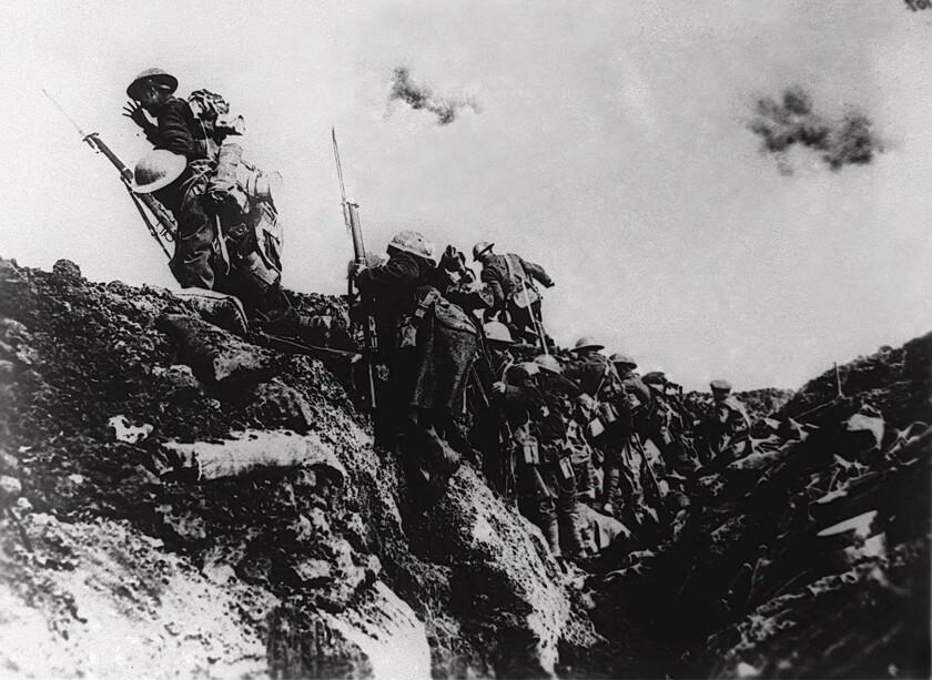 U.S. troops on an unidentified battlefield in Europe during World War I.