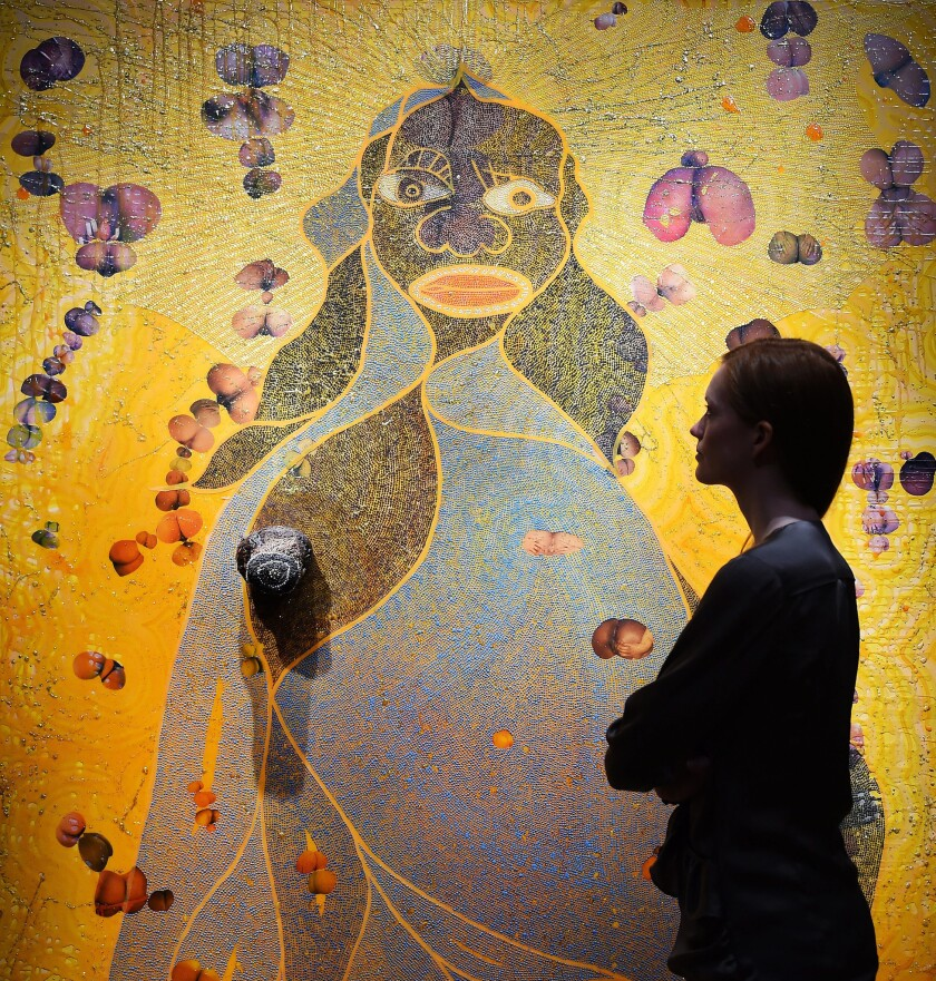 "Chris Ofili's portrait ""The Holy Virgin Mary"" sold at Christie's for about $4.5 million."