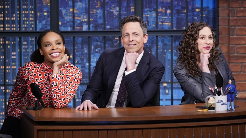 """Amber Ruffin, host Seth Meyers and Jenny Hagel during 'Jokes Seth Can't Tell' sketch on """"Late Night with Seth Meyers."""""""