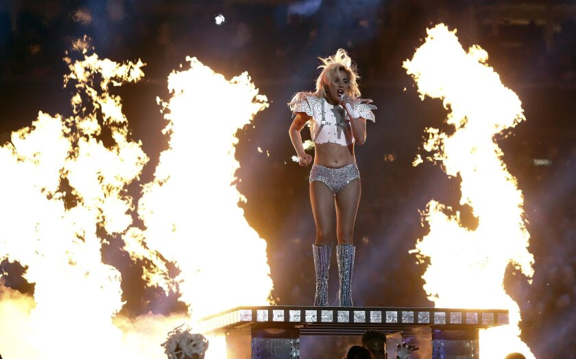 Lady Gaga adds some heat to her Super Bowl performance.