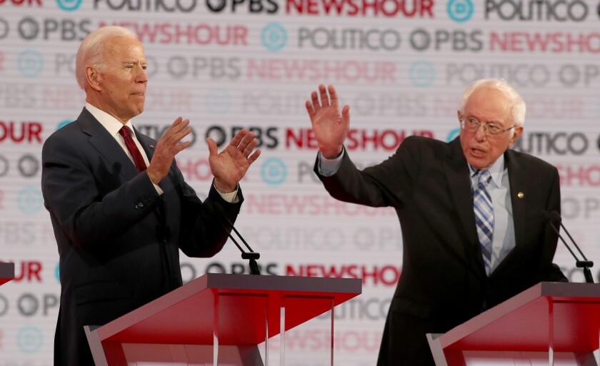 Biden and Sanders on debate stage
