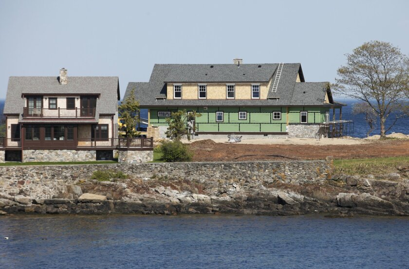 This May 24, 2015 photo shows former Florida Gov. Jeb Bush's vacation home under construction on Walker's Point in Kennebunkport, Maine. Bush is getting a house of his own at the family compound on the coast of Maine where generations of Bushes have spent summers. (Joel Page/Portland Press Herald via AP)