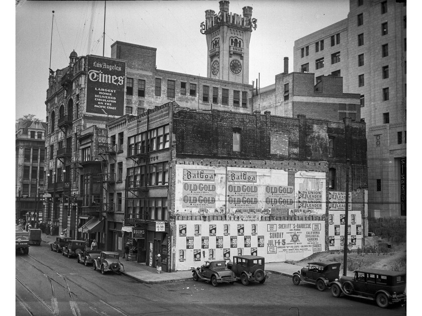 The third  Los Angeles Times Building sits at First and Broadway