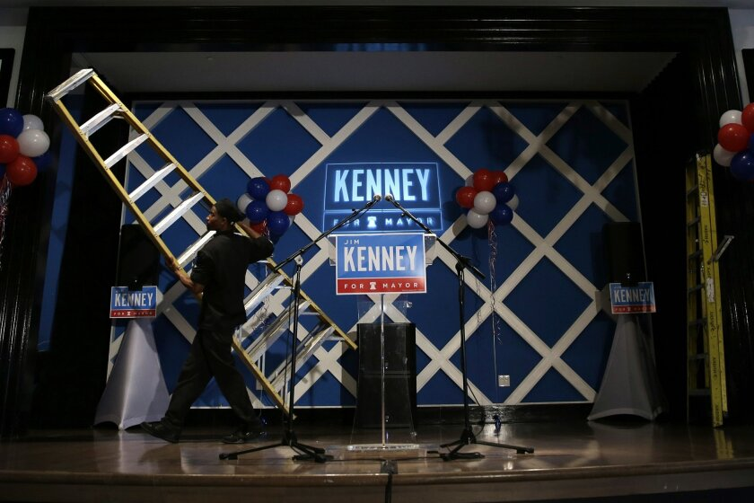 A worker moves a ladder before an election night event for Democratic mayoral candidate and former City Councilman James Kenney, Tuesday, May 19, 2015, in Philadelphia. (AP Photo/Matt Slocum)