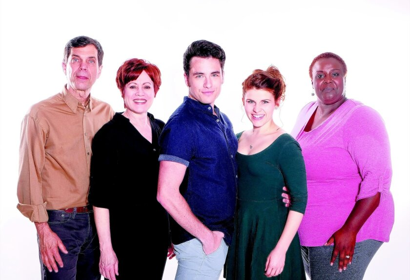 """Todd Nielsen, Tracy Lore, Michael James Byrne, Katharine McDonough and Vonetta Mixson co-star in """"All Shook Up"""" at the Moonlight Amphitheatre in Vista, beginning June 10."""