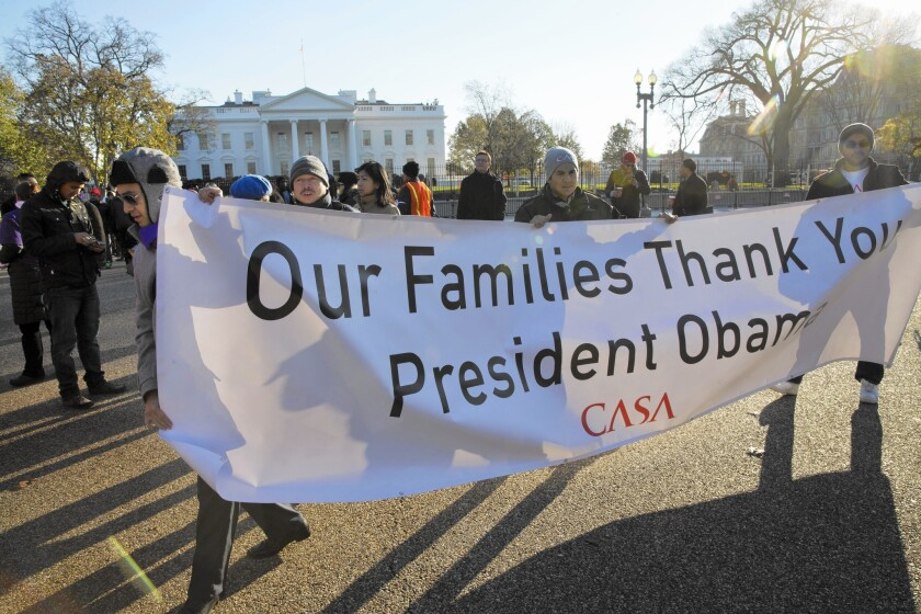 Supporters of immigration reform attend a rally in front of the White House in November.