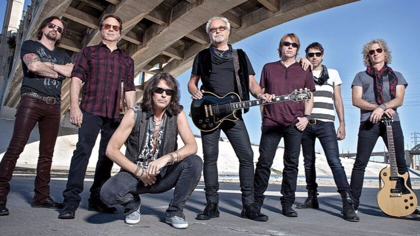 Foreigner will embark on its 40th anniversary tour this summer. Guitarist Mick Jones, center, is the band's sole original member still on board.