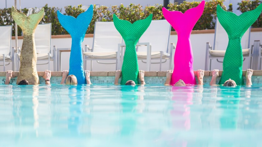 The latest fitness craze doesn't require weights or a treadmill. Mermaid tails are what power twice-weekly classes at San Diego's Hotel del Coronado.