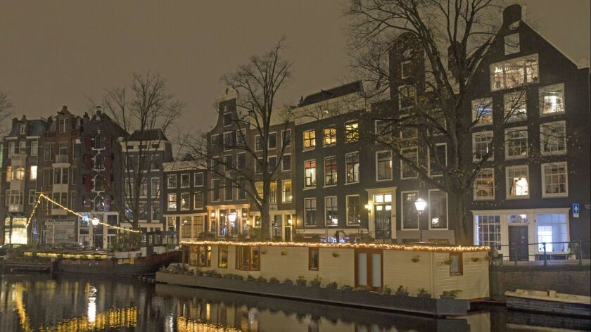 The Prinsengracht at night in Amsterdam.