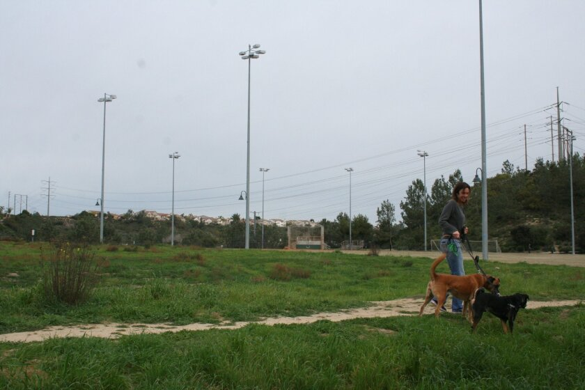 A resident walks her dogs on a four-acre parcel at Torrey Hills Neighborhood Park that is slated for a planned recreation center.
